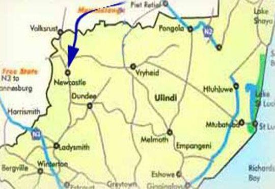 Map Kwa-Ntulindawo Guesthouse-Vryheid in Vryheid  Zululand  KwaZulu Natal  South Africa