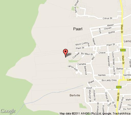 Map Belmonte Guesthouse in Paarl  Cape Winelands  Western Cape  South Africa