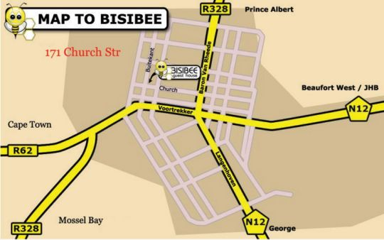 Map Bisibee Guest House in Oudtshoorn  Klein Karoo  Western Cape  South Africa