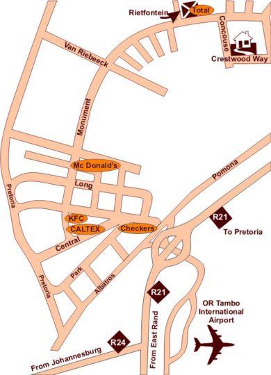 Map Africa Footprints Lodge in Kempton Park  Ekurhuleni (East Rand)  Gauteng  South Africa
