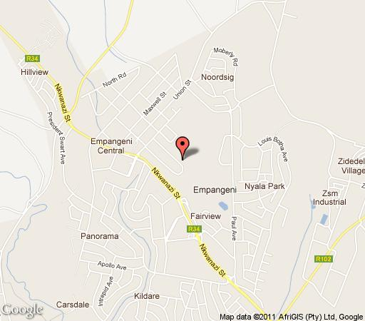 Map Empangeni Country Club in Empangeni  Zululand  KwaZulu Natal  South Africa