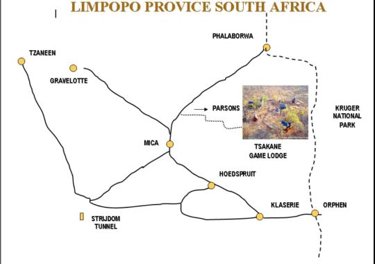Map Tsakane Safari Camp in Balule Nature Reserve  Greater Kruger Park  Kruger National Park (LIM)  Limpopo  Zuid-Afrika