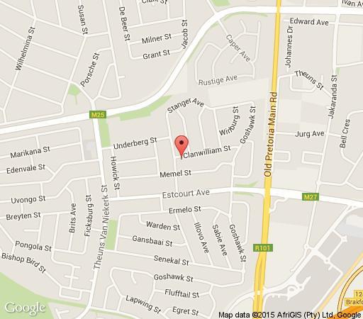 Map De Oude Herberg B&B in Eldoraigne  Centurion  Pretoria / Tshwane  Gauteng  South Africa