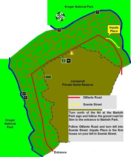 Map Impala Place in Marloth Park  Kruger National Park (MP)  Mpumalanga  South Africa