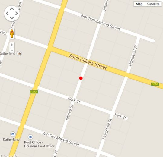 Map Sutherland Guest House in Sutherland  Hantam Karoo  Northern Cape  South Africa