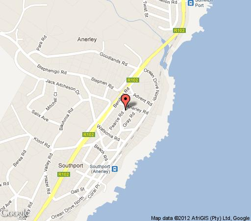 Map Pearce Place B&B in Port Shepstone  South Coast (KZN)  KwaZulu Natal  South Africa