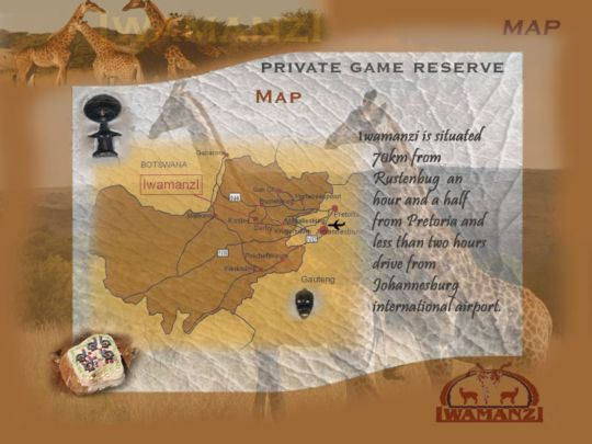 Map Iwamanzi Game Lodge in Magaliesburg  West Rand  Gauteng  South Africa
