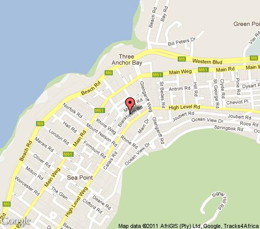 Map Blackheath Lodge in Sea Point  Atlantic Seaboard  Cape Town  Western Cape  South Africa