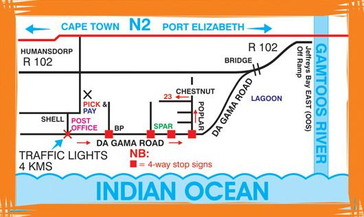Map A1 Bay View Cottage in Jeffreys Bay  Cacadu (Sarah Baartman)  Eastern Cape  South Africa