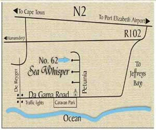 Map Sea Whisper B&B & Self Catering in Jeffreys Bay  Cacadu (Sarah Baartman)  Eastern Cape  South Africa