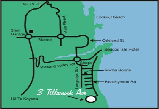 Map Dolphin\'s Playground in Plettenberg Bay  Garden Route  Western Cape  South Africa