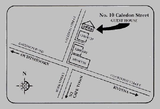 Map No.10 Caledon Street Guest House in George  Garden Route  Western Cape  South Africa