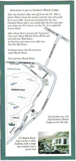 Map Gordon\'s Beach Lodge in Gordon's Bay  Helderberg  Western Cape  South Africa