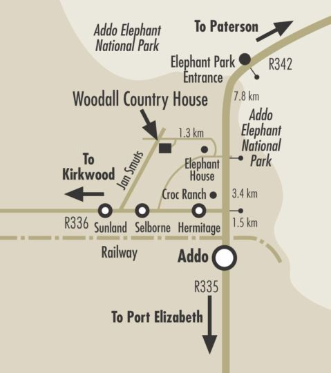Map Woodall Country House & Spa in Addo  Cacadu (Sarah Baartman)  Eastern Cape  South Africa