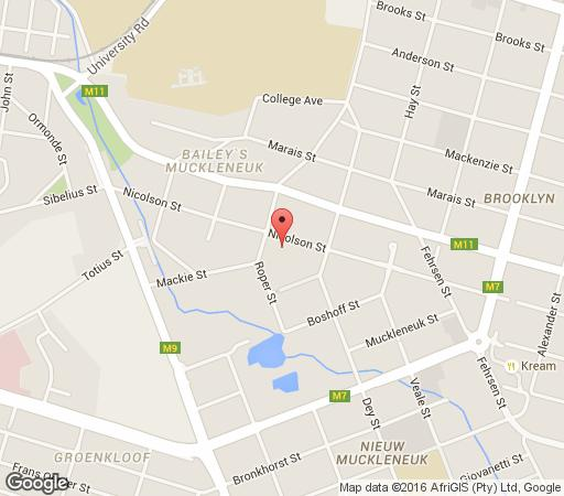 Map Aanmani Guesthouse in Brooklyn (PTA)  Pretoria Central  Pretoria / Tshwane  Gauteng  South Africa