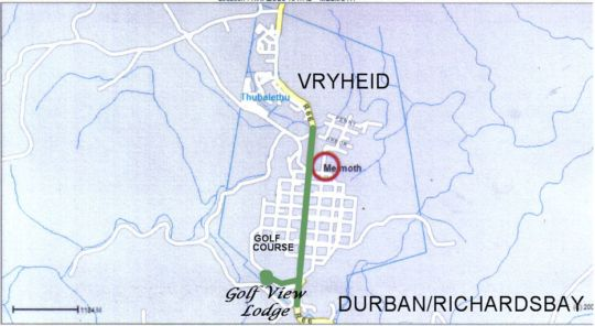 Map Golf View Lodge in Melmoth  Zululand  KwaZulu Natal  Afrique du Sud