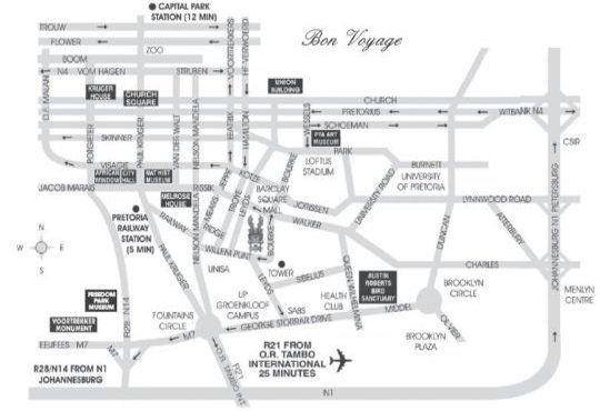 Map  Illyria House Boutique Hotel & Spa, Pretoria in Muckleneuk Ridge  Pretoria Central  Pretoria / Tshwane  Gauteng  South Africa