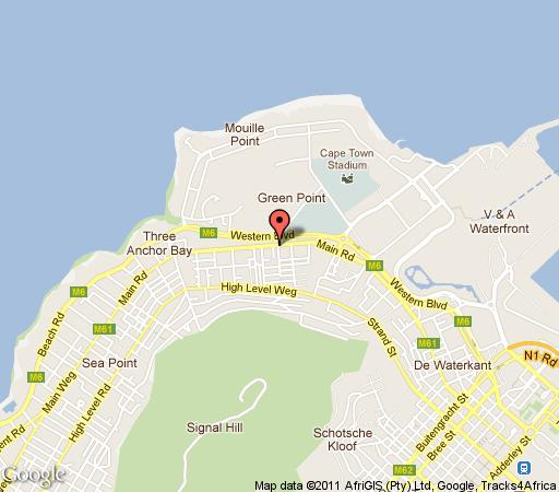 Map Zia\'s Accommodation Green Point in Green Point  Atlantic Seaboard  Cape Town  Western Cape  South Africa