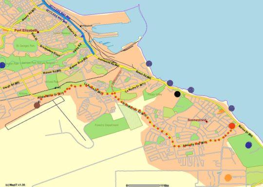 Map Ballina Ga-el Guesthouse in Summerstrand  Port Elizabeth  Cacadu (Sarah Baartman)  Eastern Cape  South Africa