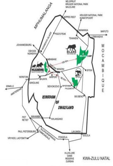 Map Mlilwane Wildlife Sanctuary in Mbabane  Hhohho  Swaziland