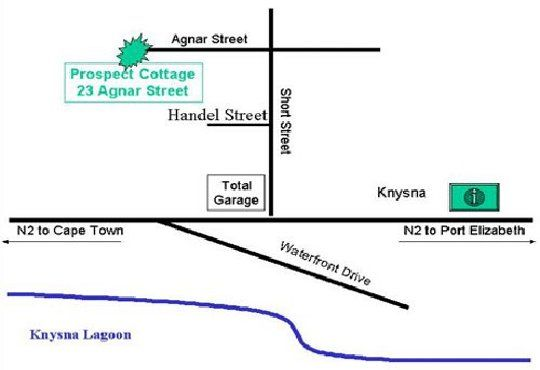 Map Prospect Cottage  in Knysna  Garden Route  Western Cape  South Africa