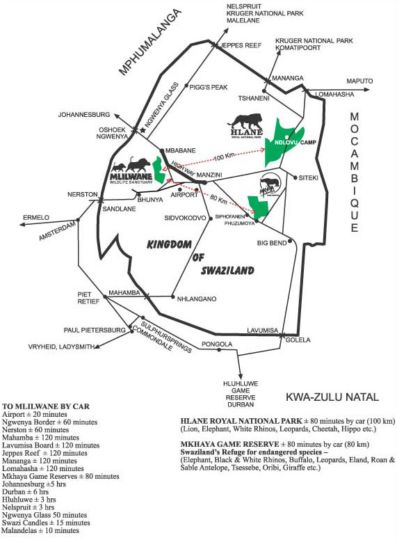 Map Hlane Royal National Park in Simunye  Lubombo  Swaziland
