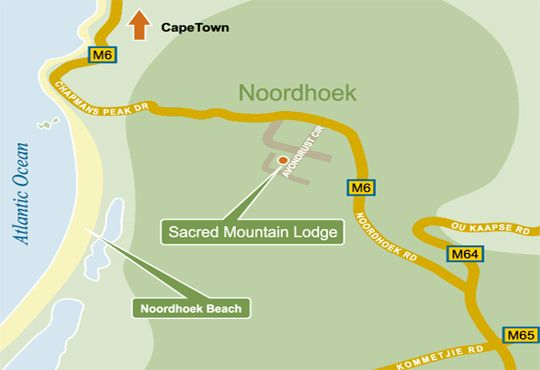 Map Sacred Mountain Lodge in Noordhoek  False Bay  Cape Town  Western Cape  South Africa