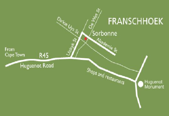 Map Sorbonne  in Franschhoek  Cape Winelands  Western Cape  South Africa