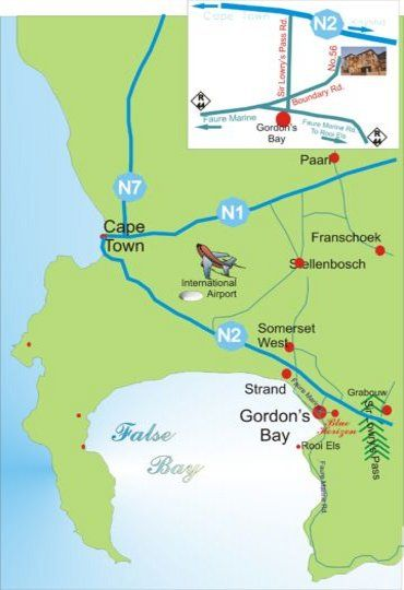 Map Blue Horizon Guest House in Gordon's Bay  Helderberg  Western Cape  South Africa