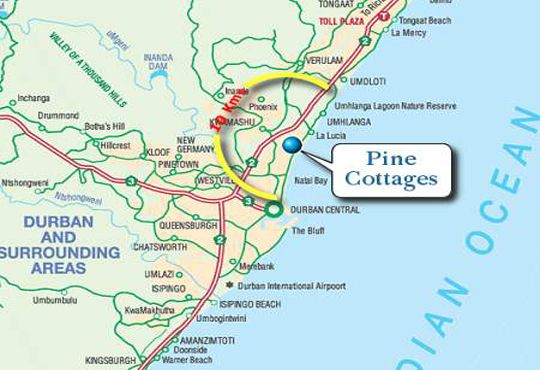 Map Pine Cottages in Durban North  Northern Suburbs (DBN)  Durban and Surrounds  KwaZulu Natal  S�dafrika