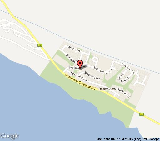 Map Big Blue Beach Lodge in Beachview  Port Elizabeth  Cacadu  Eastern Cape  S�dafrika