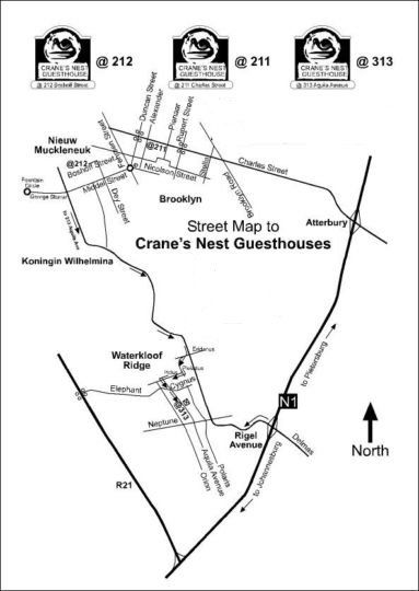Map Cranes Nest Guest House @ 943 in Brooklyn (PTA)  Pretoria Central  Pretoria / Tshwane  Gauteng  Südafrika