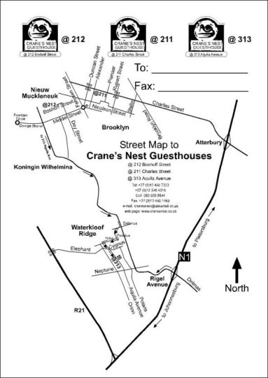 Map Cranes Nest Guest House and Spa @313 in Waterkloof Ridge  Pretoria East  Pretoria / Tshwane  Gauteng  South Africa