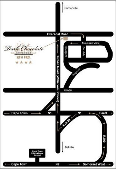 Map Dark Chocolate in Durbanville  Northern Suburbs (CPT)  Cape Town  Western Cape  South Africa