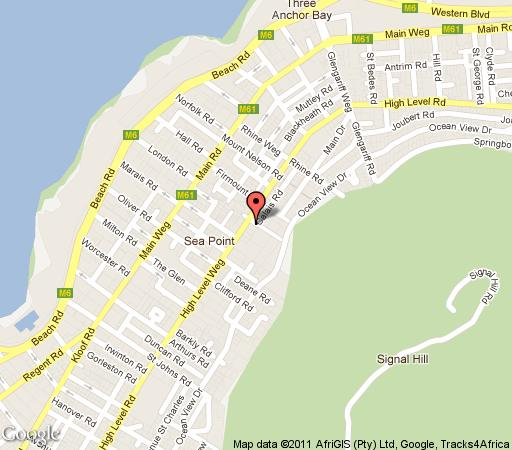 Map Zia\'s Sea Point in Sea Point  Atlantic Seaboard  Cape Town  Western Cape  South Africa