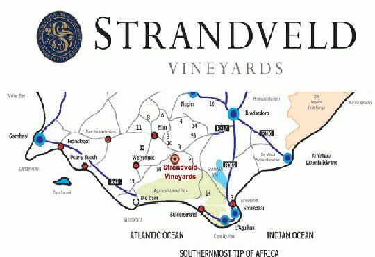 Map Strandveld Vineyards Cottages in Elim  Overberg  Western Cape  South Africa