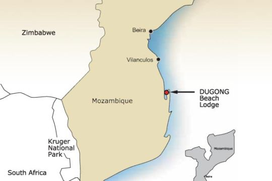 Map Dugong Beach Lodge in Vilanculos  Inhambane  Mozambique