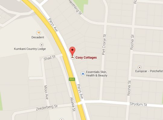 Map Cosy Cottage B&B in Potchefstroom  Southern (NW)  North West  South Africa
