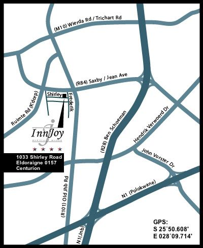 Map InnJoy in Eldoraigne  Centurion  Pretoria / Tshwane  Gauteng  South Africa