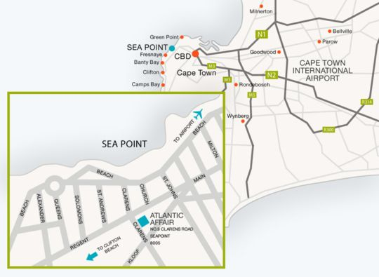 Map Atlantic Affair Boutique Lodge in Sea Point  Atlantic Seaboard  Cape Town  Western Cape  South Africa