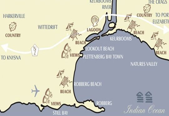 Map Singing Kettle Beach Lodge in Plettenberg Bay  Garden Route  Western Cape  South Africa