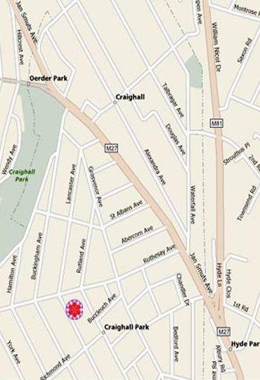 Map Craighall Garden in Craighall Park  Northcliff/Rosebank  Johannesburg  Gauteng  South Africa