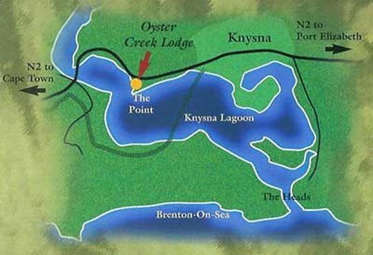 Map Oyster Creek Lodge in Knysna  Garden Route  Western Cape  South Africa