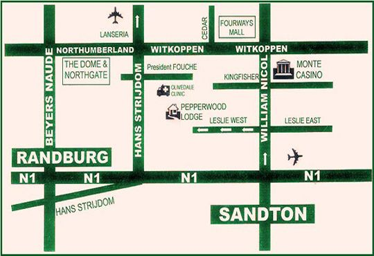 Map Pepperwood Lodge in Jukskei Park  Randburg  Johannesburg  Gauteng  South Africa