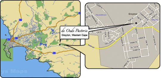 Map de Oude Pastorie in Greyton  Overberg  Western Cape  South Africa