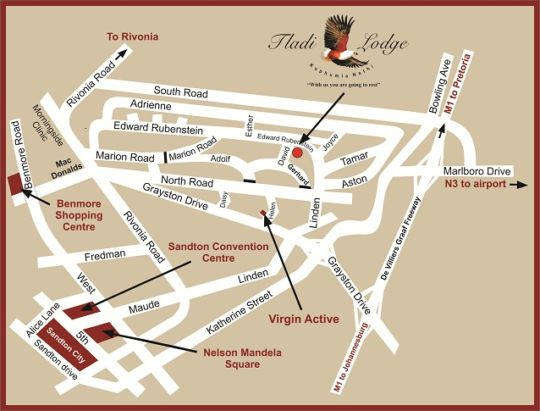 Map Tladi Lodge in Sandton Central  Sandton  Johannesburg  Gauteng  South Africa