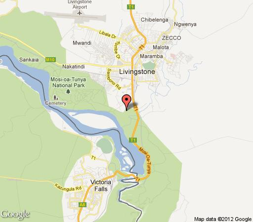 Map The Livingstone Safari Lodge in Victoria Falls  Livingstone  Zambia