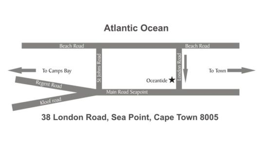 Map Oceantide Apartments in Sea Point  Atlantic Seaboard  Cape Town  Western Cape  South Africa