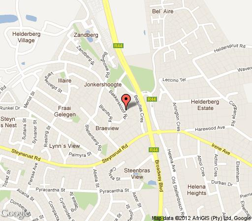 Map Blaauwheim Guest House in Somerset West  Helderberg  Western Cape  South Africa