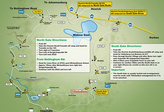 Map Tillietudlem Game and Trout Farm in Dargle  Midlands  KwaZulu Natal  South Africa